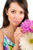 Piękna kobieta z kwiatami Zdjęcie Royalty Free