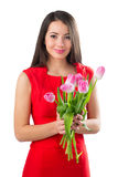 Piękna kobieta z tulipanami Fotografia Stock