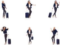 Pi?kna kobieta z walizk? w urlopowym poj?ciu obraz royalty free