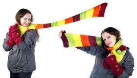 piękna kolorowa dziewczyny szalika zima Zdjęcie Royalty Free