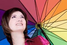piękna kolorowa parasolowa kobieta zdjęcia royalty free