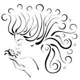 piękna kwiatu profilu sylwetki kobieta Fotografia Stock