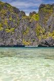 Piękna laguna blisko El Nido, Palawan -, Filipiny Zdjęcia Stock