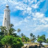 Piękna latarnia morska, laguna i tropikalne palmy Matara Sri Lank, Zdjęcie Royalty Free