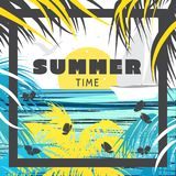 Piękna lato karta, plakat/ tropikalny krajobrazu ilustracja wektor