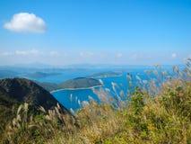 Piękna linia horyzontu przy Sai Kung zatoką fotografia royalty free