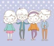 Pi?kna ma?e dziecko grupa z kropkowanym t?em royalty ilustracja