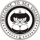 piękna morska porthole znaczka kobieta Fotografia Royalty Free