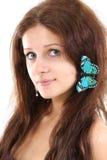 piękna motylia dziewczyna Zdjęcia Stock
