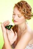 piękna motylia dziewczyna Obraz Stock