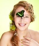 piękna motylia dziewczyna Zdjęcia Royalty Free