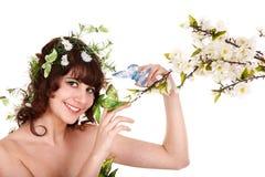 piękna motyliego kwiatu dziewczyna Obraz Royalty Free