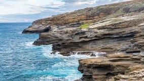 Piękna ocean scena przy Lanai punktem obserwacyjnym na Oahu, Hawaje Zdjęcia Stock