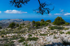 Piękna panorama od GR 221 Tramuntana gór, Mallorca, Hiszpania Obrazy Royalty Free