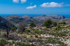 Piękna panorama od GR 221 Tramuntana gór, Mallorca, Hiszpania Zdjęcia Royalty Free
