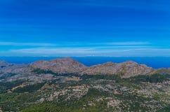 Piękna panorama od GR 221 Tramuntana gór, Mallorca, Hiszpania Zdjęcie Stock