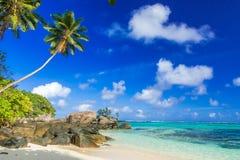 Pi?kna pla?a Mahe, Seychelles - Anse aux szpilki - zdjęcie stock