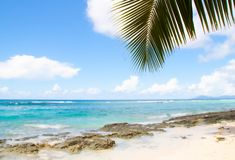pi?kna pla?a w Seychelles zdjęcia stock