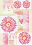 Piękna pocztówka z gerbera sercami i kwiatami Zdjęcie Royalty Free