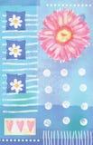 Piękna pocztówka z gerbera sercami i kwiatami Obraz Stock