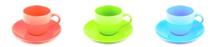 piękna porcelanowa czerwonym kubki zielonych niebieska herbaty Zdjęcia Stock