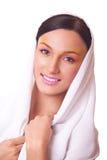 Piękna portreta kobieta z jaskrawy makeup Obrazy Stock