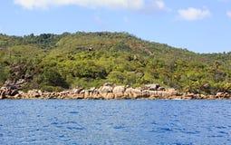 Piękna Praslin wyspa w oceanie indyjskim Obraz Royalty Free