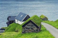 Piękna scena, Mikladalur wioska, Faroe wyspy zdjęcie royalty free