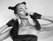 Piękna Seksowna Elegancka Emocjonalna kobiety twarz Zdjęcie Stock