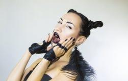 Piękna Seksowna Elegancka Emocjonalna kobiety twarz Zdjęcia Stock