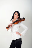 piękna seksowna skrzypcowa kobieta Obrazy Royalty Free