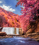 Piękna siklawa w infrared widoku Zdjęcia Royalty Free