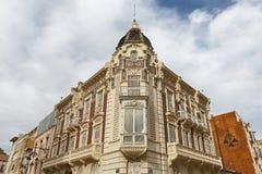 Piękna stara fasada dom w Cartagena w Hiszpania Zdjęcia Stock