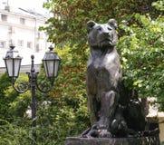 Piękna stara statua lew w kulturalnym sercu Odessa Obraz Royalty Free