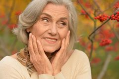 Piękna starsza kobieta plenerowa Fotografia Stock