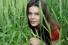 piękna sukni pola dziewczyny zieleni czerwieni banatka Zdjęcia Royalty Free