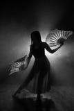 Piękna sylwetka dziewczyna elegancko tanczy w dymu i mgle Obraz Royalty Free