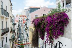 Pi?kna ulica w Lisbon, Portugalia fotografia royalty free