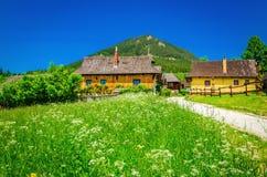 Piękna Vlkolinec tradycyjna wioska, Sistani Fotografia Stock