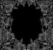 Piękna wektorowa dekoracyjna rama z koronkowego fryzowania kwiecistymi ornamentami Obrazy Stock