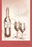 Piękna wektorowa ilustracja na temacie wino Zdjęcia Royalty Free