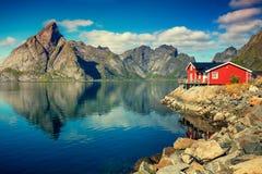 Piękna wioska rybacka na fjord Reine, Lofoten, Norwegia Zdjęcie Royalty Free