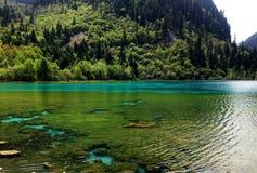 Piękna wiosny góra, jezioro i Fotografia Stock