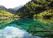Piękna wiosny góra, jezioro i obraz stock