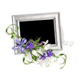 Piękna wiosny rama z irysami na starej papierowej stercie Obraz Royalty Free