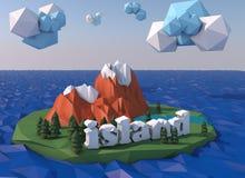 Pi?kna wyspa z chmurami Niscy poli- 3D odp?acaj? si? royalty ilustracja