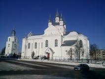 Piękna zimna zima w Belarusian miasteczku Fotografia Stock