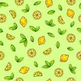 Piękne animaci cytryny owoc na zielonym tle Cytryna rysunek bezszwowy wzoru Zdjęcie Stock
