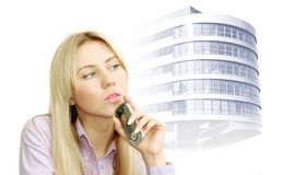 piękne biznesowe telefonu portreta kobiety obrazy stock