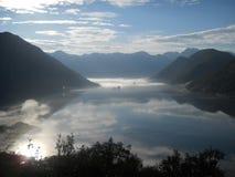 Piękne Boka Kotorska faliste chmury Fotografia Royalty Free
